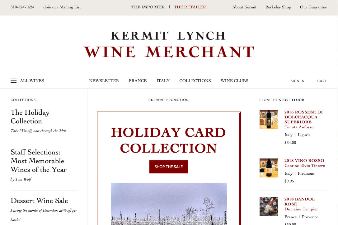 Kermit Lynch Wine Merchant - Front End Development