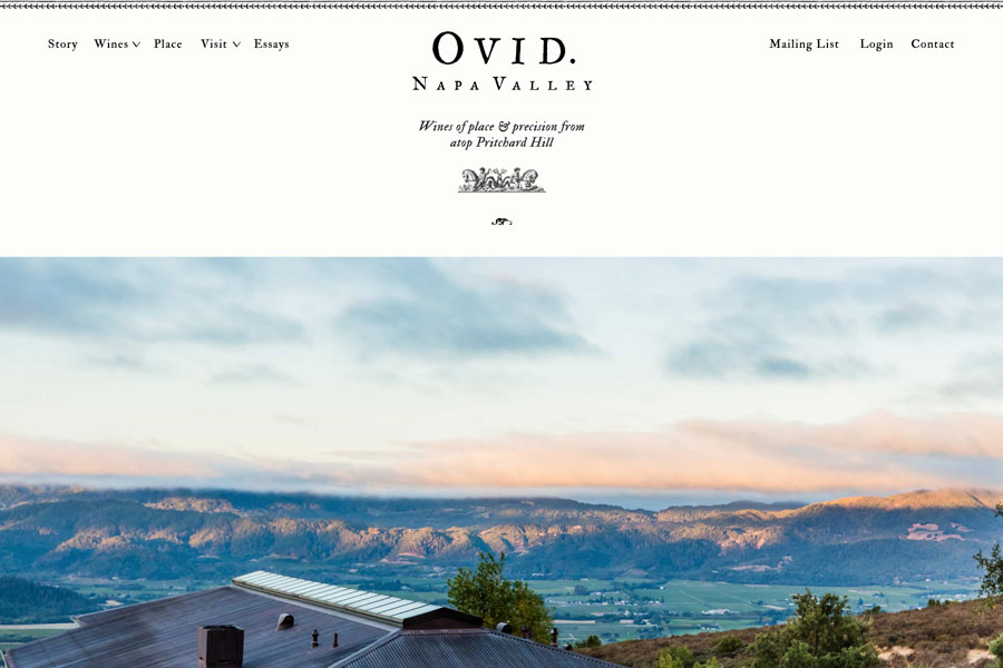 Ovid Napa Valley - Front End Development & Wordpress Theme
